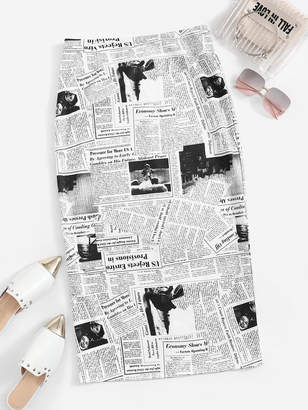 Shein Newspaper Print Split-back Skirt