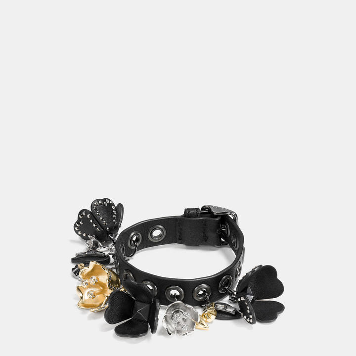 Coach  COACH Coach Leather Eyelet Tea Rose Charm Bracelet