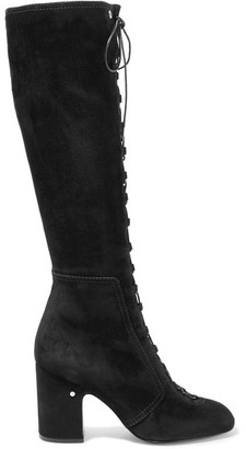 Laurence Dacade - Mina Lace-up Suede Knee Boots - Black $1,490 thestylecure.com