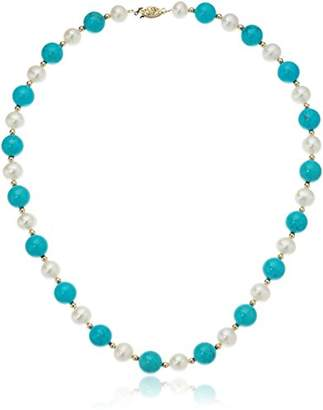 14k Yellow Gold 9-9.5 mm Freshwater Cultured Pearl with 10 mm Simulated Howlite Strand Necklace