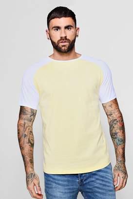 boohoo Raglan Ringer T-Shirt With Curve Hem
