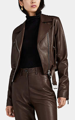 The Row Women's Perlin Leather Moto Jacket - Brown