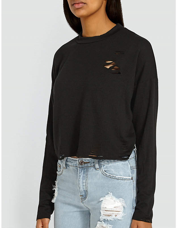 Distressed jersey sweatshirt