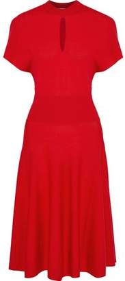 Lanvin Flared Cutout Stretch-Wool Dress