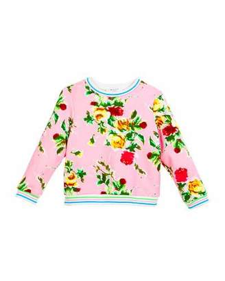 Milly Minis Rose-Print Sweatshirt, Size 4-7