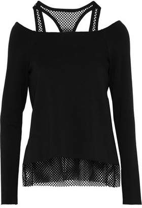 Bailey 44 Layered Mesh And Stretch-Modal Fleece Top