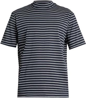 Close-neck striped-cotton T-shirt