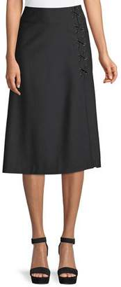 Veronica Beard Verna Lace-Up Midi Skirt