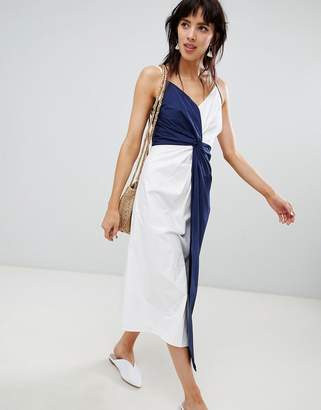 Warehouse midi dress with knot detail in navy and white