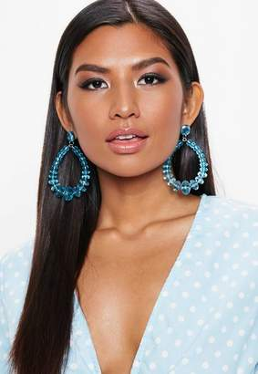 Missguided Blue Clear Tear Drop Earrings