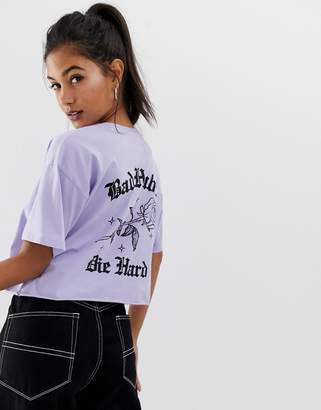 Asos Design DESIGN cropped t-shirt with bad habits motif in lilac