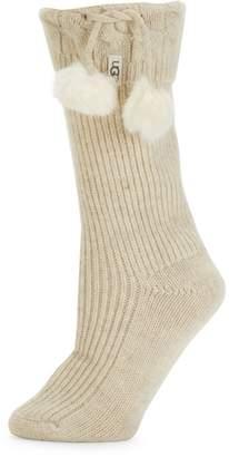 UGG Faux-Fur Pom-Pom & Ribbed Rainboot Socks