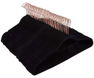 Juvale 50 Pack Black Velvet Hangers - Non Slip Hangers with Rose Gold Hooks and Accessory Bar - Thin Hangers - Non Slip Hangers