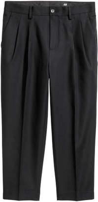 H&M Cotton Twill Suit Pants - Black