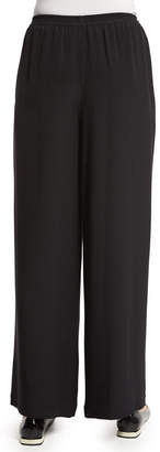 eskandar Flared Wide-Leg Silk Trousers
