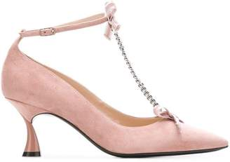 Casadei T-bar chain midi pumps