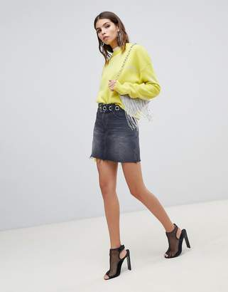 Miss Sixty denim skirt with raw hem and printed logo detail