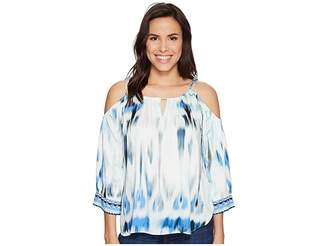 Hale Bob Sun Streaked Rayon Stretch Satin Cold Shoulder Top Women's Clothing