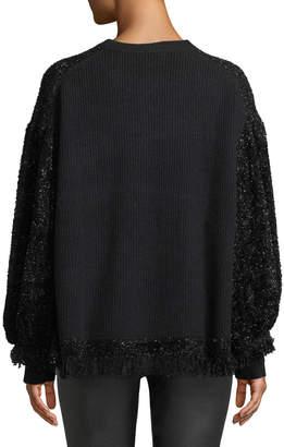 Zac Posen Shimmer-Fringe Striped Sweater