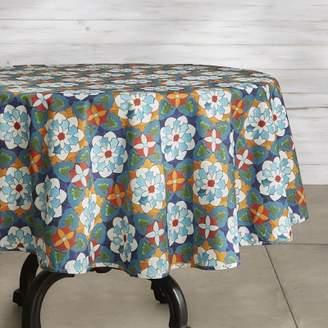 ... Williams Sonoma Williams Sonoma Tile Oilcloth Outdoor Round Tablecloth