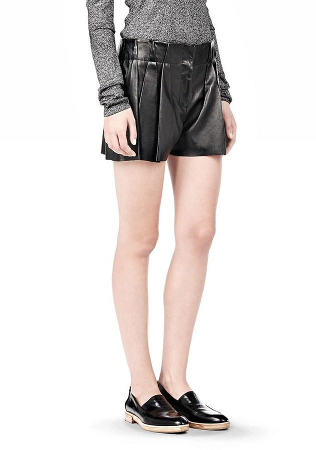 Alexander Wang Bloomer Pleated Leather Shorts