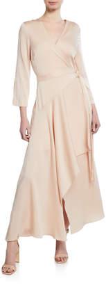 BCBGMAXAZRIA Asymmetric Satin Wrap Dress