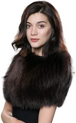 URSFUR Winter Fur Pashmina Women Real Fox Scarves Fur Shawl Cape Multicolor