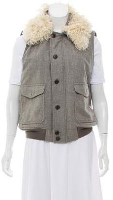 Ralph Lauren Fur-Accented Wool Vest