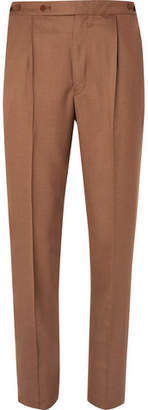 Camoshita Tan Pleated Woven Suit Trousers