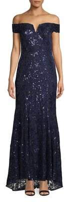 Vince Camuto Off-the-Shoulder Sequin Gown