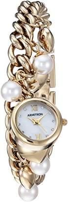 Swarovski Armitron Women's 75/5578MPGP Crystal Accented Gold-Tone Charm Bracelet Watch