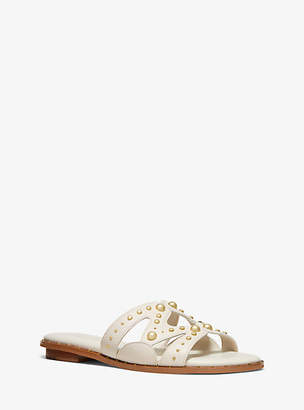 MICHAEL Michael Kors Annalee Studded Textured Leather Slide