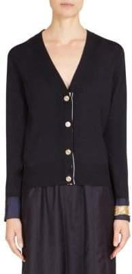 Thom Browne Merino Wool Jewelery Applique Cardigan