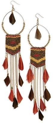 Panacea Feather Beaded Drop Earrings