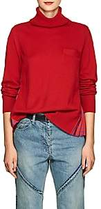 Sacai Women's Floral-Satin-Back Wool Sweater-Red, Blue