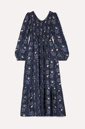 Apiece Apart Olivia Smocked Floral-print Silk-satin Maxi Dress - Navy