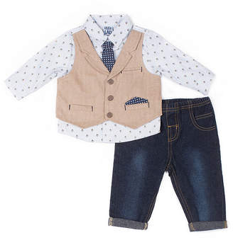 Little Lass 2-pc. Easy Remove Tie Mock Vest Set-Baby Boy