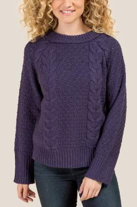 francesca's Meredith Cable Knit Dolman Sweater - Navy