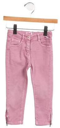 Il Gufo Girls' Five Pocket Zip-Accented Jeans