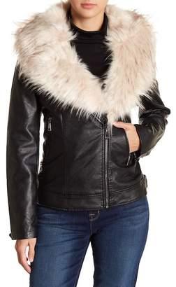 Love Token Faux Fur Collar Vegan Leather Jacket