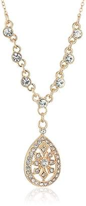 1928 Jewelry Gold-Tone Crystal Filigree Teardrop Adjustable Y-Shaped Necklace