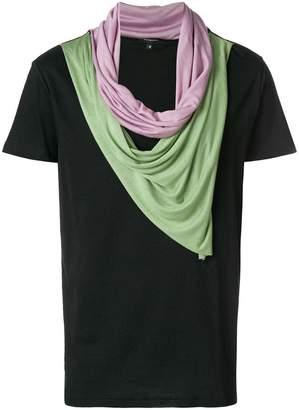 Unconditional double drape neckerchief T-shirt