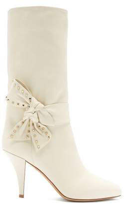 Valentino Bow Embellished Leather Boots - Womens - White