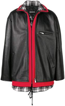 Balenciaga Layered leather jacket