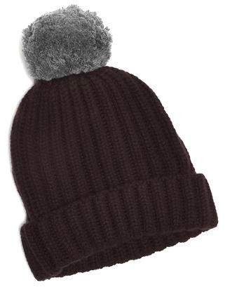 Corgi Big Pom Knit Two Tone Cashmere Hat in Burgundy
