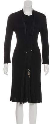 Just Cavalli Pleated Midi Dress Black Pleated Midi Dress