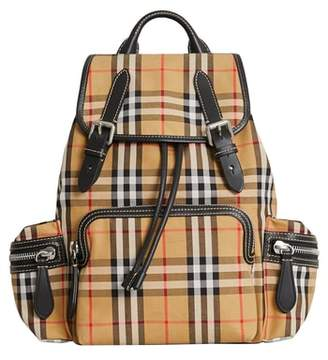 Burberry Medium Rucksack Check Cotton Backpack