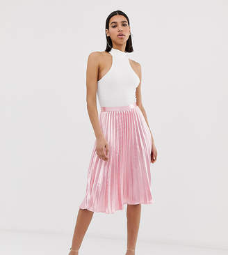 Missguided satin pleated midi skirt in pink