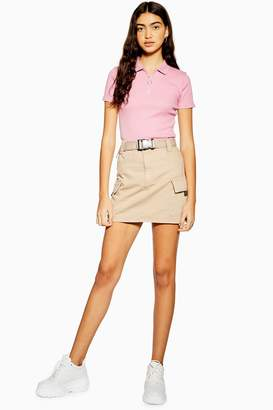 Topshop Womens Stone Clip Belted Denim Mini Skirt - Cream