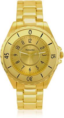 HAMPDEN Hampden Mens Gold-Tone Personalized Bracelet Watch